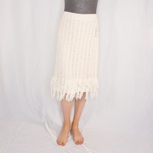 MAEVE Anthropologie Ivory Knit Fringe Midi Skirt